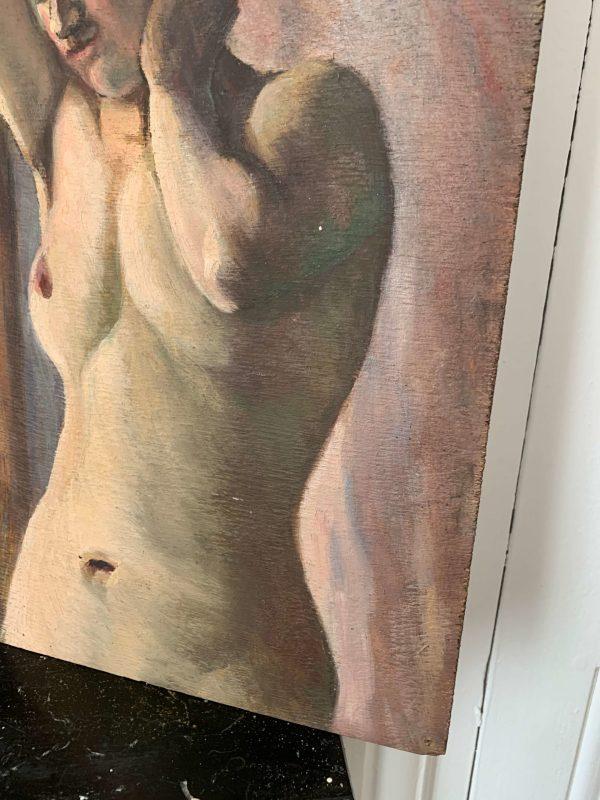 ancienne peinture à l'huile femme nue art déco