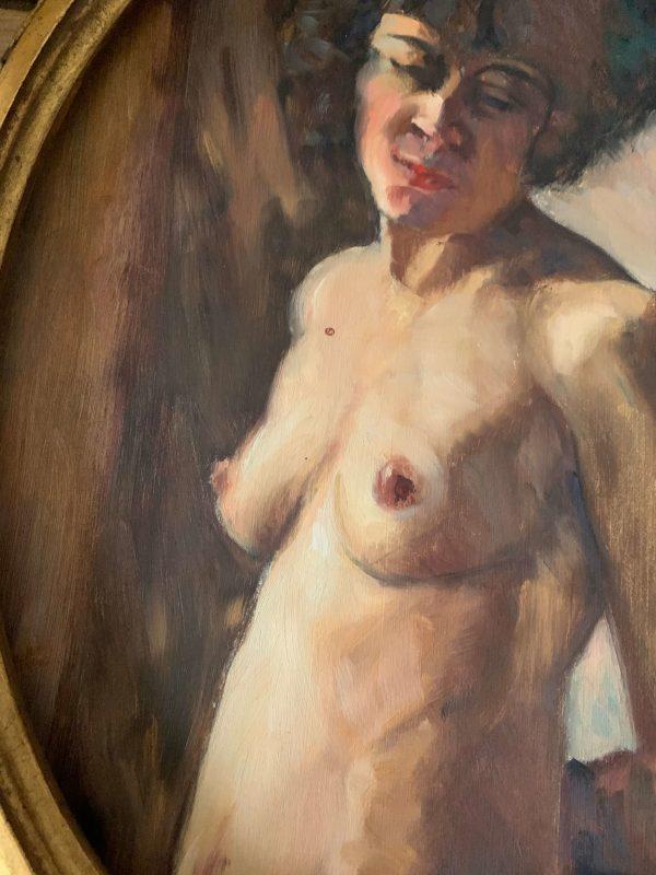 ancienne peinture à l'huile femme nue vers 1920