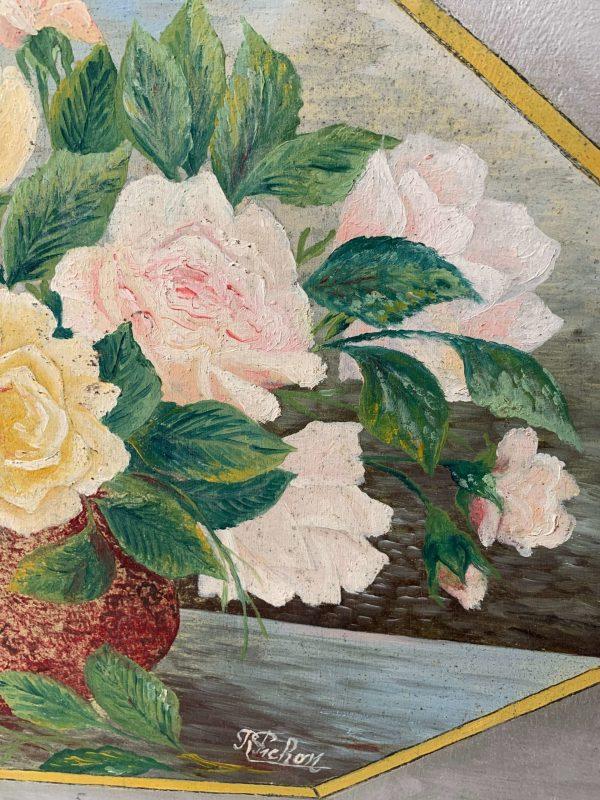 ancienne peinture de fleurs roses sur bois art déco