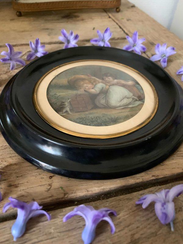 ancienne gravure fillette xixeme cadre napoleon