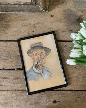 ancienne peinture homme fumant la pipe