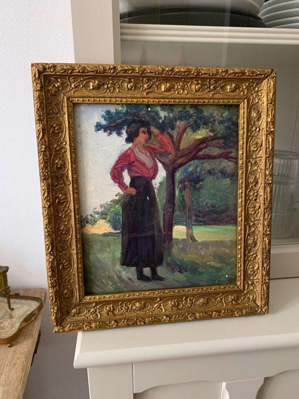ancienne peinture à l(huile femme vers 1900
