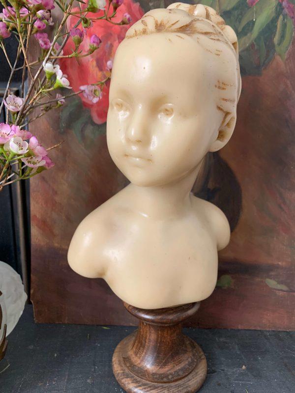ancien buste en cire fillette debut xxème