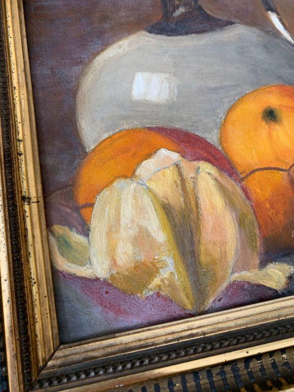 ancienne peinture à l'huile nature morte oranges