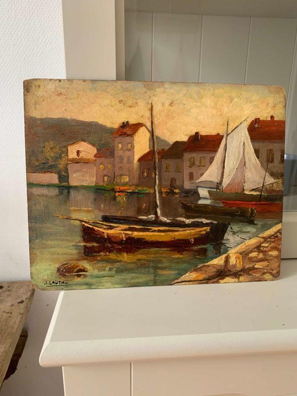 ancienne peinture à l'huile marine port de pêche vers 1900