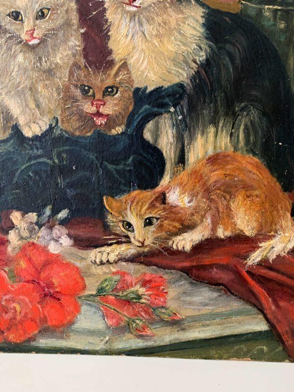 ancienne peinture à l'huile chats debut xxème