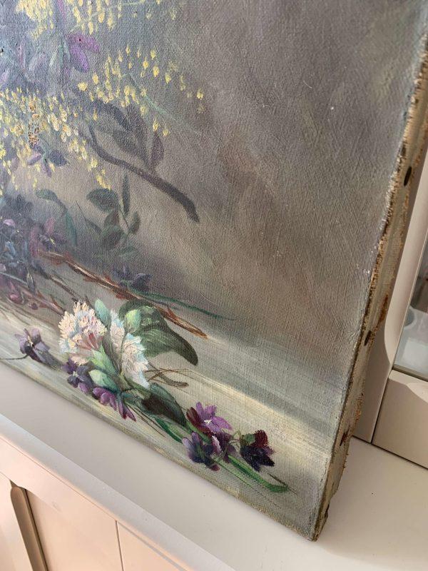 ancienne huile sur toile fleurs mimosa violettes debut XXeme