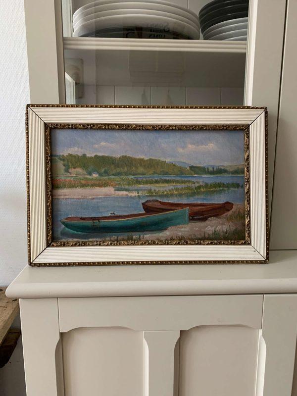 ancienne peinture à l'huile marine vers 1900