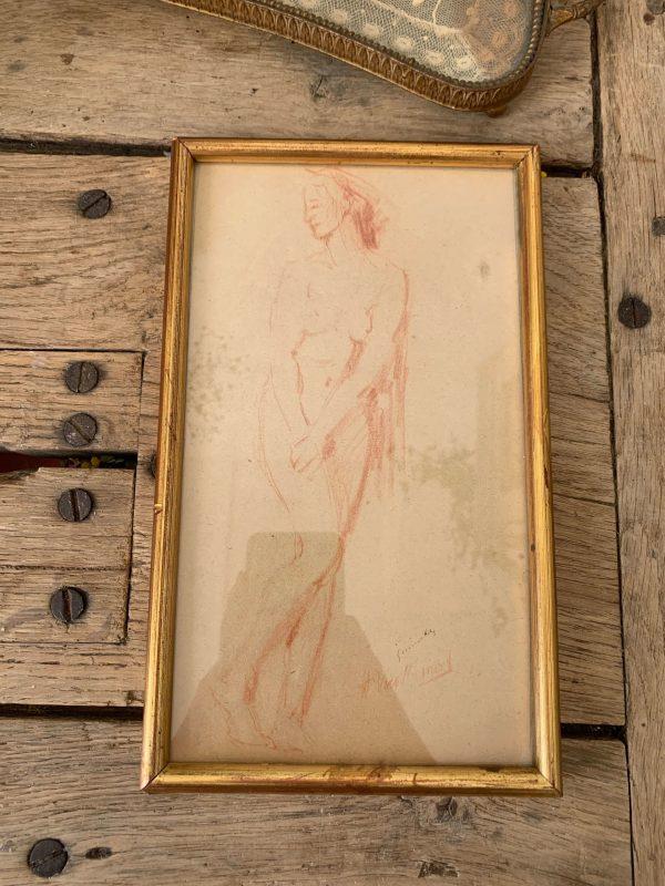 ancien dessin nu sanguine femme