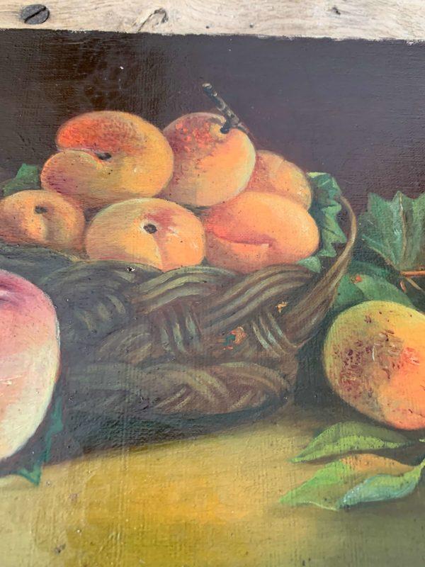 ancienne peinture nature morte pêche vers 1900