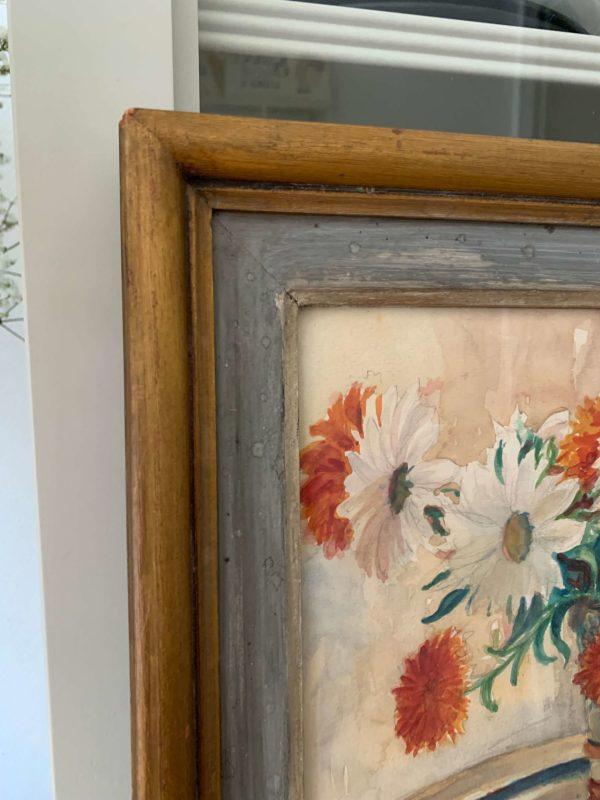 ancienne peinture de fleurs marguerites ancienne