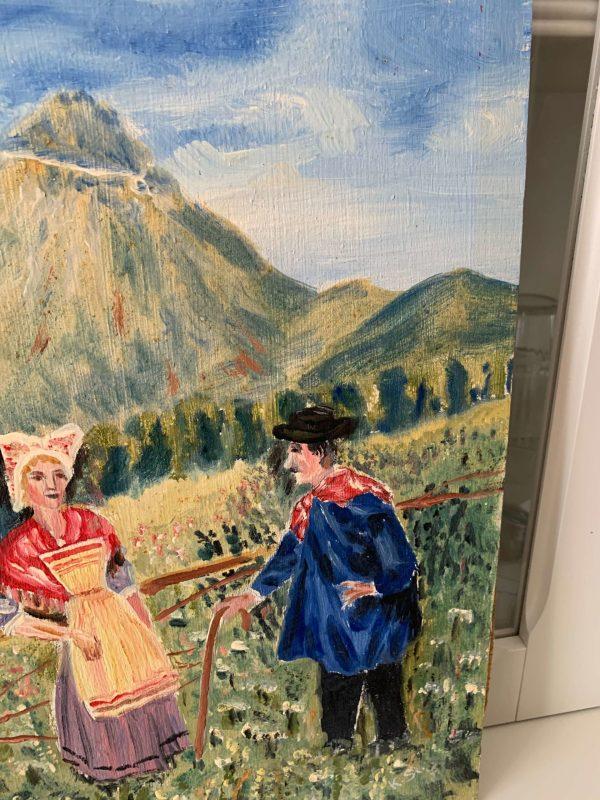 anciennes peintures à l'huile costumes normands