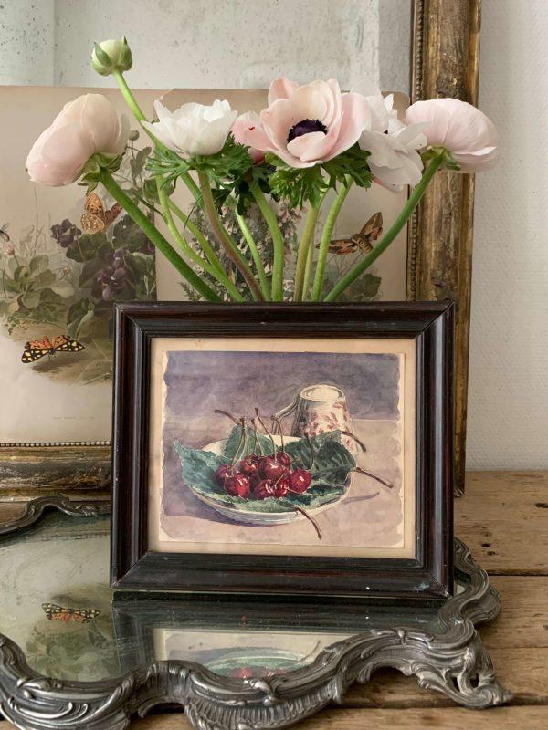 ancienne peinture aquarelle cerises