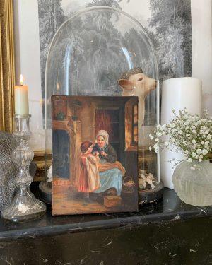 peinture à l'huile ancienne xixeme fillette et grand-mère