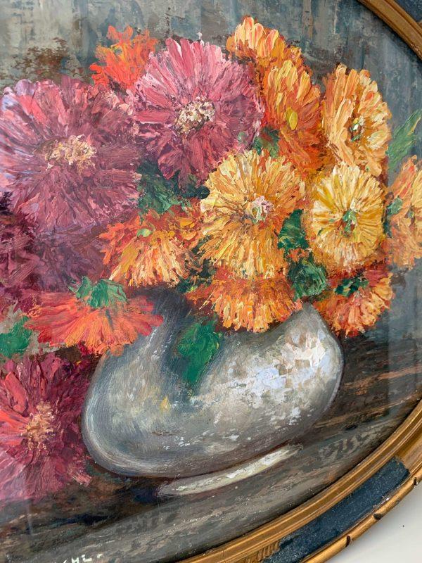 ancienne peinture de fleurs marguerites cadre oval debut xxeme