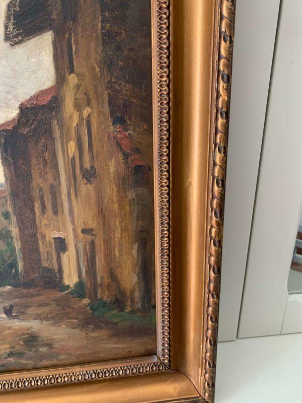 ancienne peinture à l'huile vers 1900 ferme basse cour