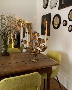 ancien candelabre chandelier d'église laiton et bronze fleurs xixeme eglise