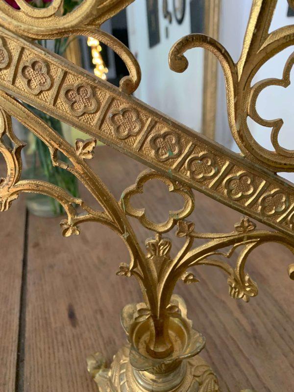 ancien candelabre chandelier d'église xixeme en bronze et laiton