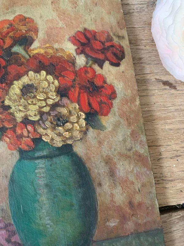 peinture de fleurs ancienne sur bois zinnia