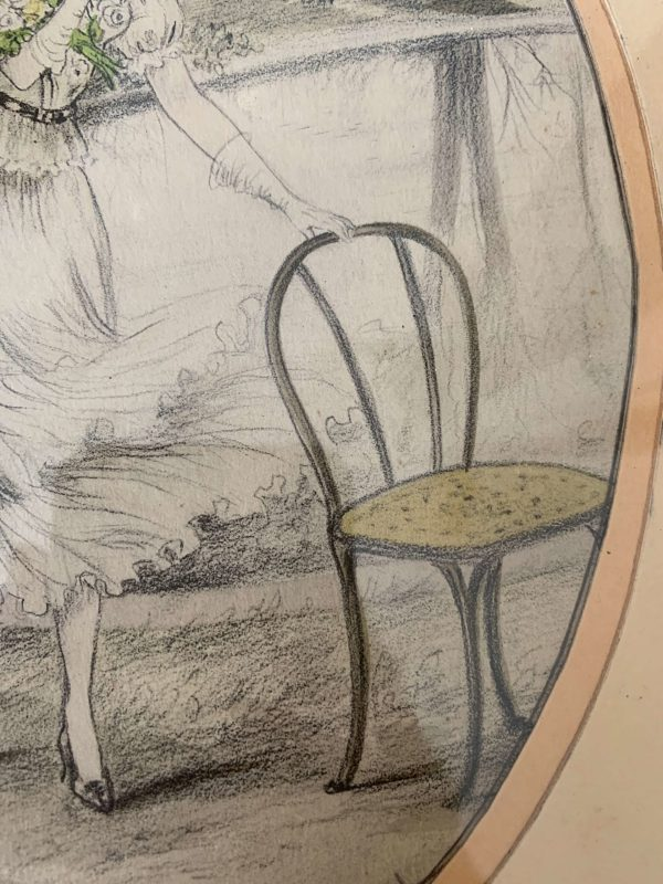 ancienne gravure de femme art déco rehaussée aquarelle dorval