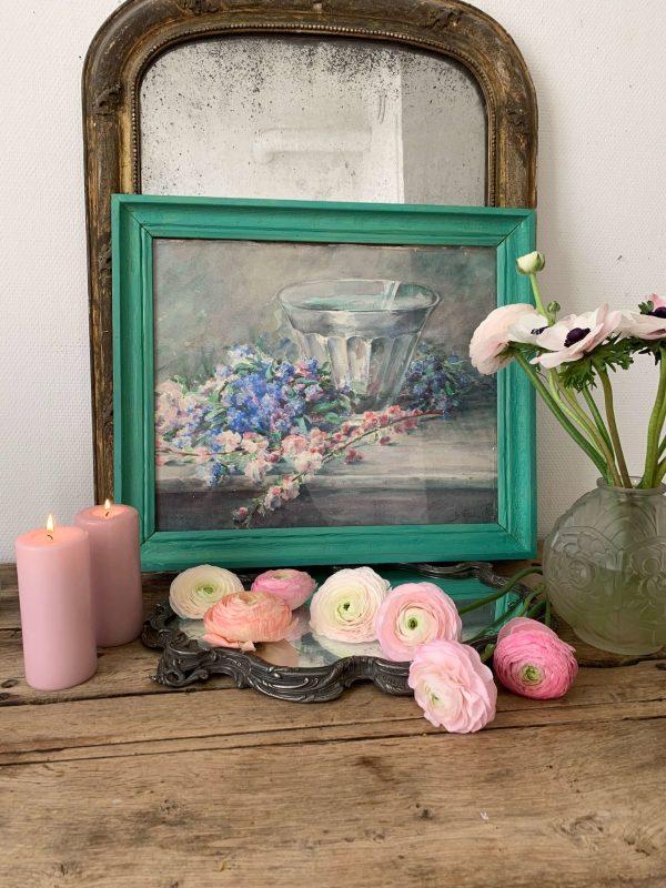 ancienne peinture de fleurs aquarelle debut xxème
