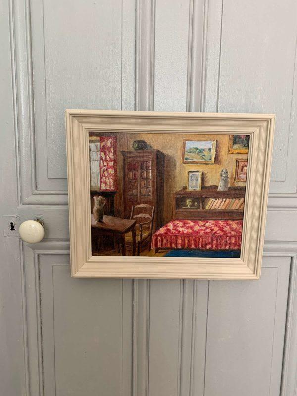 ancienne peinture à l'huile scène d'intérieur années 30 40