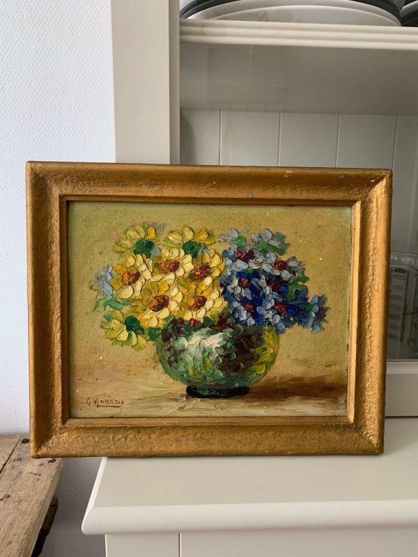 ancienne peinture fleurs sur panneau