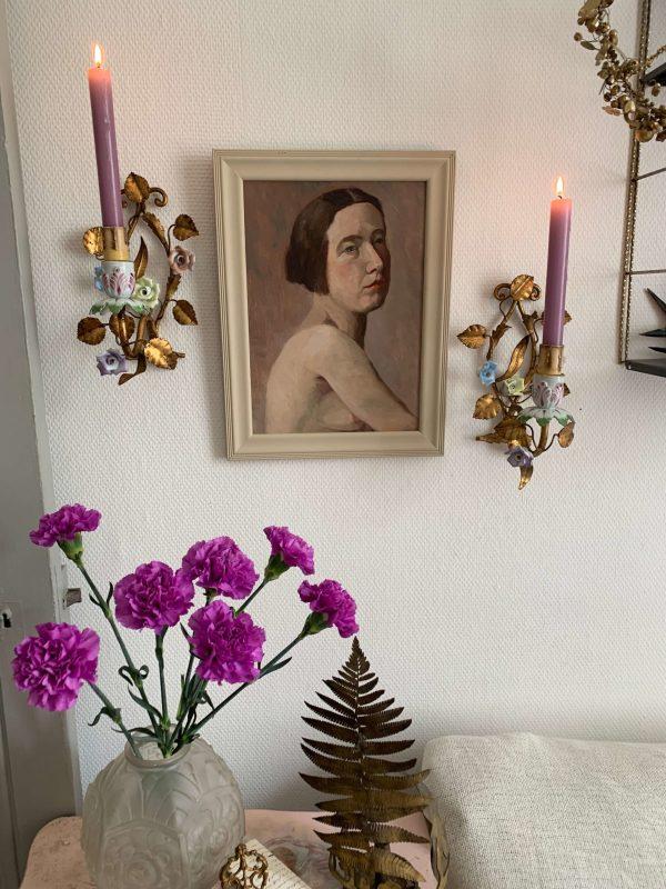 anciennes-appliques-de-fleurs-porcelaine-et-laiton