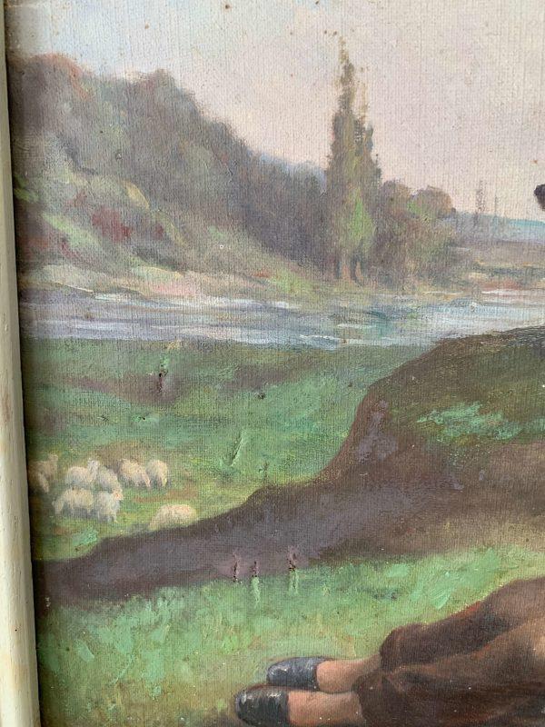 ancienne huile sur toile le berger xixeme