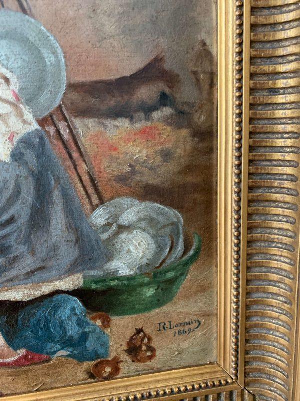 ancienne peinture à l'huile xixème femme lorrain