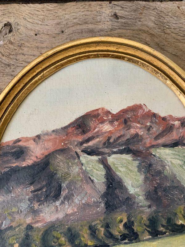 ancienne peinture à l'huile médaillon vaches montagnes
