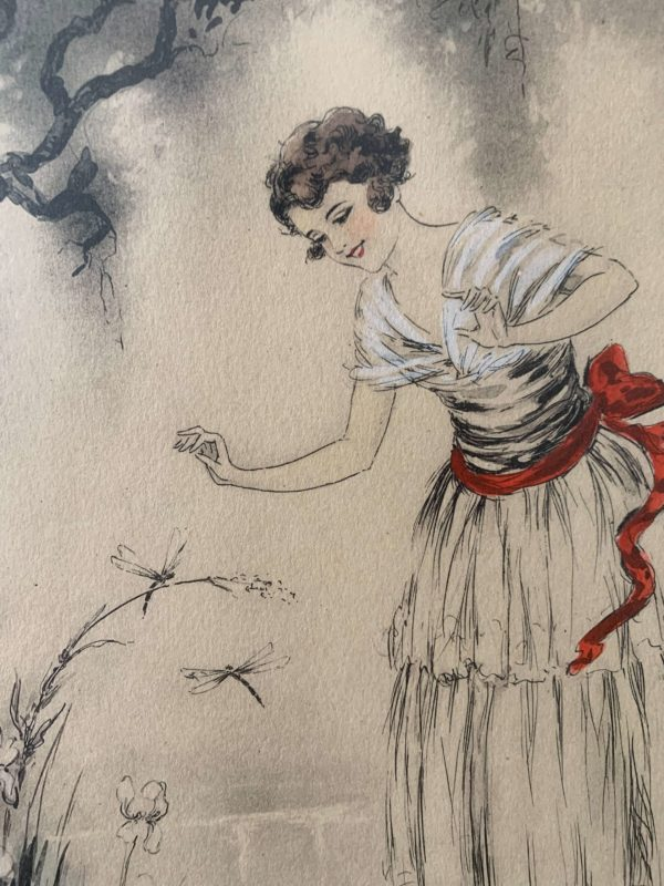 ancienne gravure art déco femme alfred renaudin e naudy