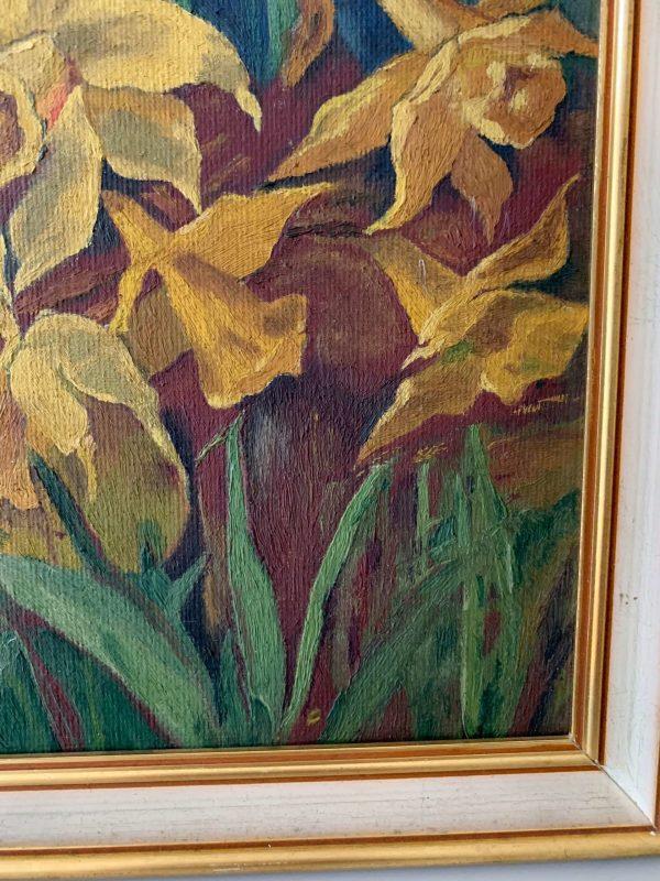 peinture à l'huile fleurs jonquilles
