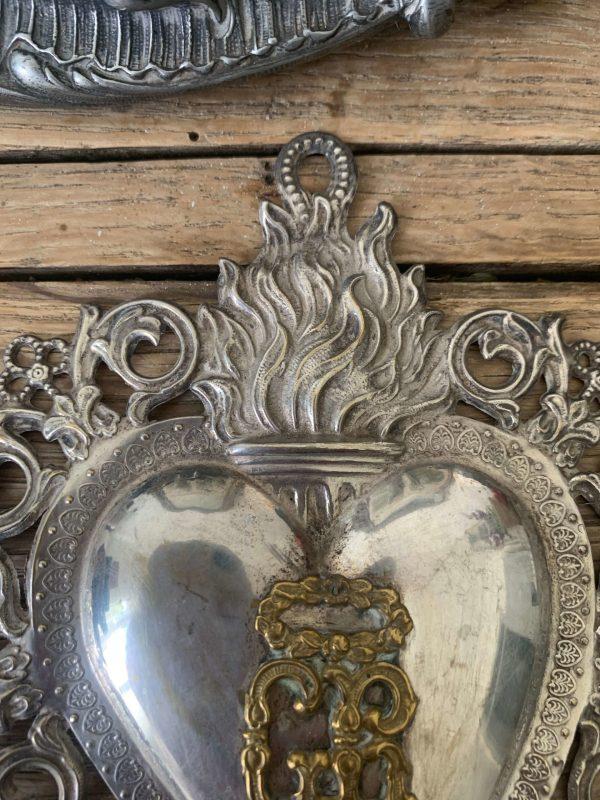 ancien coeur ex voto metal argenté vers 1900