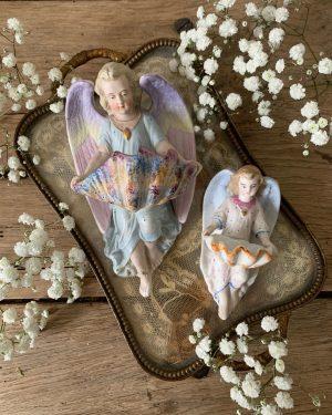 anciens benitiers anges en biscuit