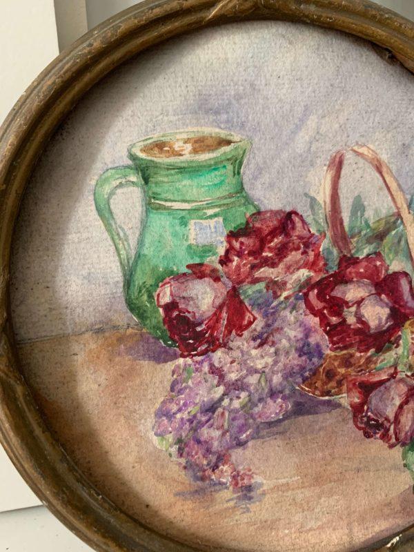 ancienne peinture à l'huile fleurs cadre rond
