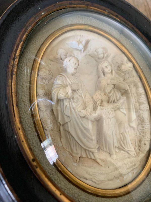 ancien cadre reliquaire platre petrifié sainte famille xixeme