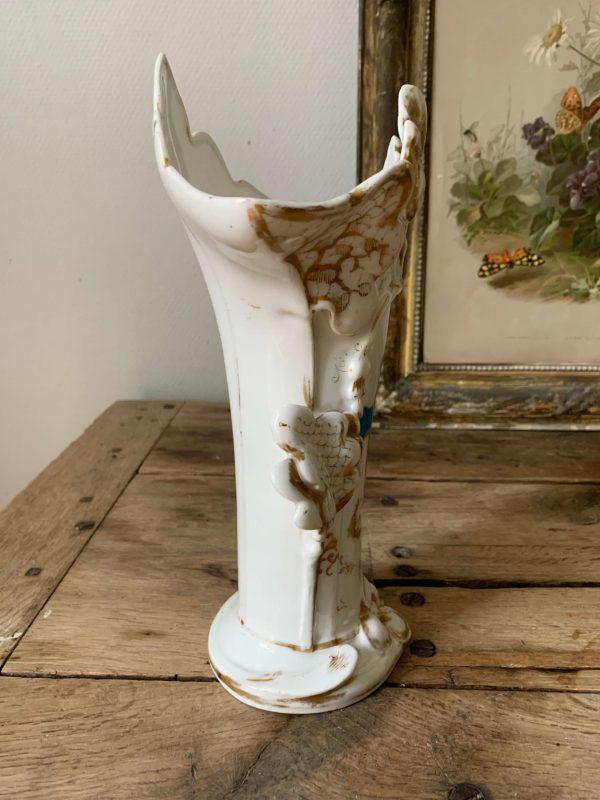 ancien vase d'église en porcelaine de paris xixeme croix bleue dorures