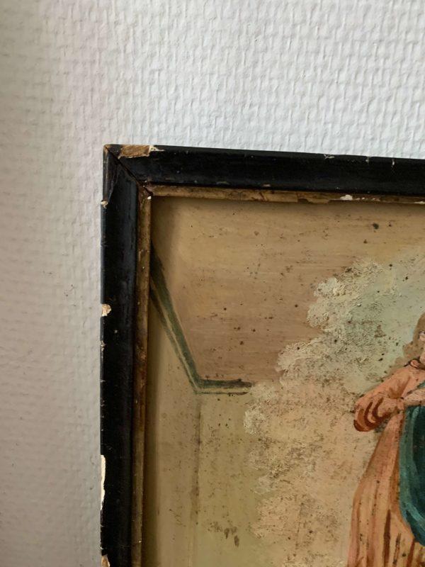 ancienne peinture à l'huile sur métal ex voto debut xxème