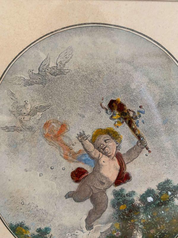 ancienne gravure angelot d'après fragonnard