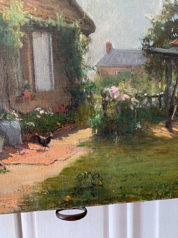 ancienne huile sur toile maison vers 1900 scène d'extérieur