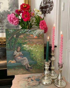 ancienne peinture à l'huile dame paysage tricot vers 1940