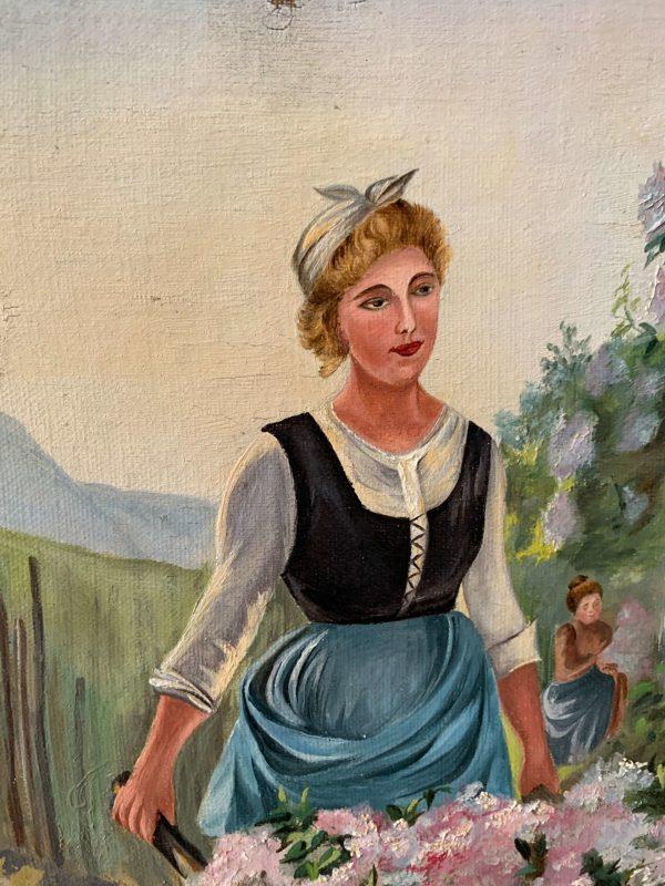 ancienne huile sur toile femme récolte fleurs vers 1900