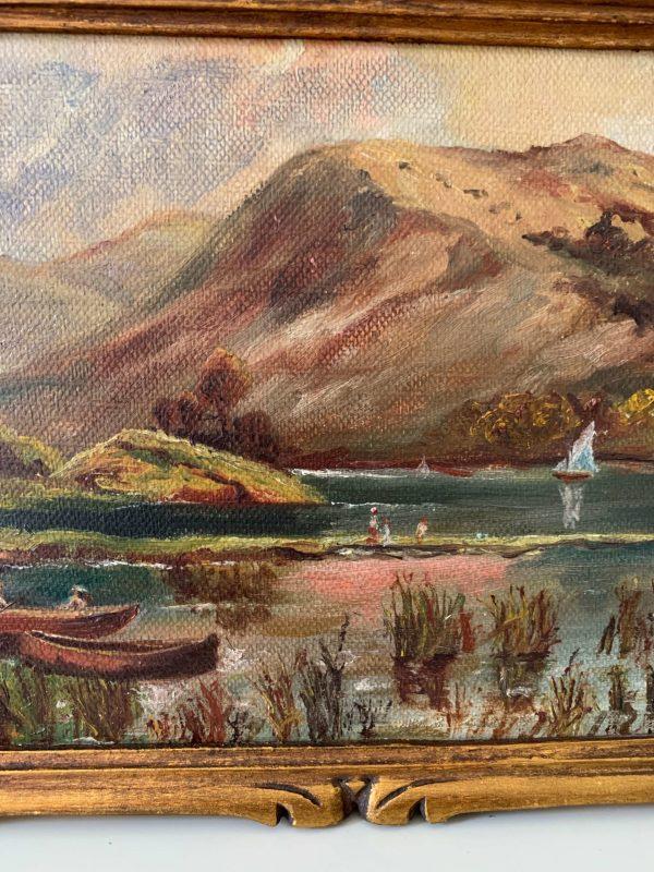 ancienne peinture à l'huile marine sur carton début XXème
