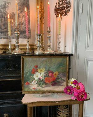 ancienne peinture de fleurs pourpiers à fleurs vers 1900