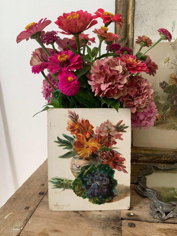 ancienne peinture de fleurs vers 1900 bouquet