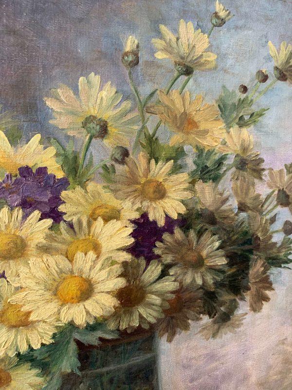 ancienne peinture à l'huile fleurs tableau 1900, marguerites et violettes