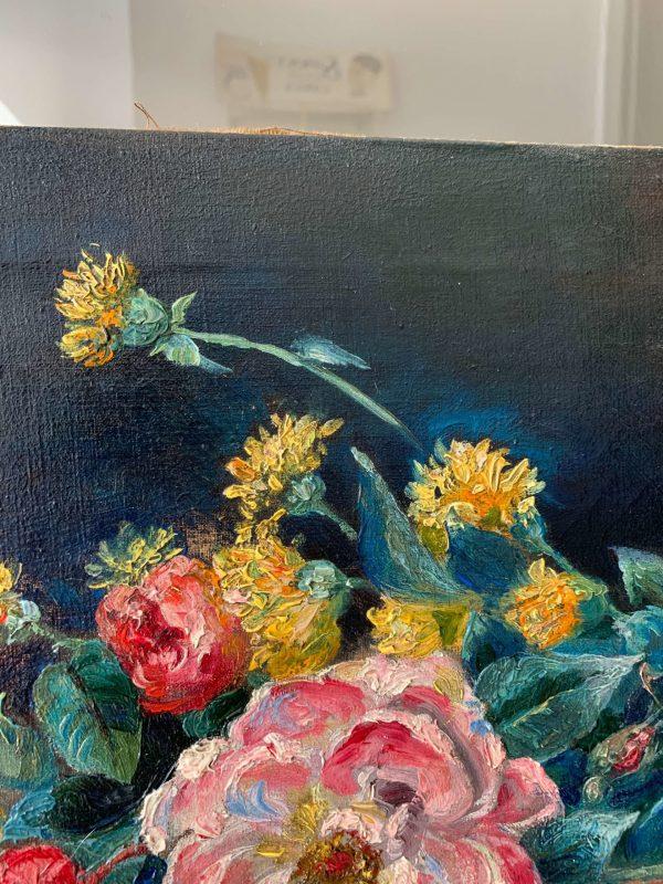 ancienne huile sur toile fleurs tableau vers 1900 Jo Purrel