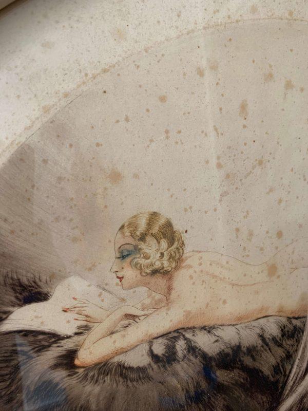 ancienne gravure de femme nue art deco a cotty