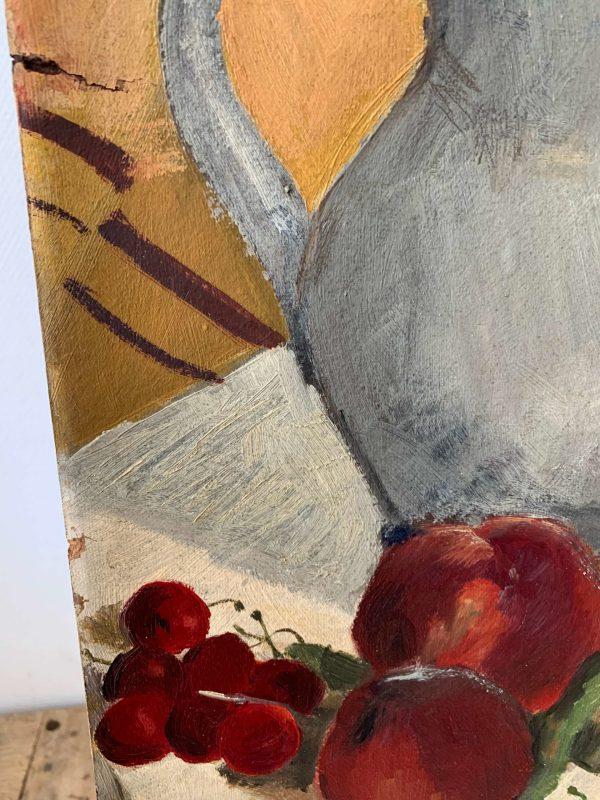 ancienne peinture à l'huile nature morte couleurs vives et roses